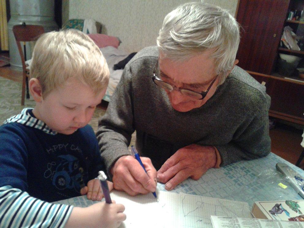 Міхаіл Савіцкі з праўнукам Іванам