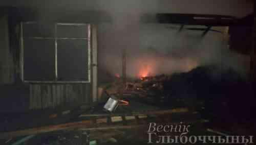 В Глубокском районе горело частное складское здание